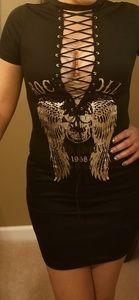 Rock & Roll Laceup Shirt Mini Dress